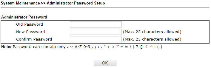 draytek vigor 130 admin password