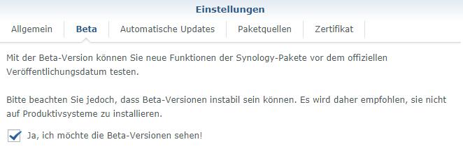 synology paketzentrum beta
