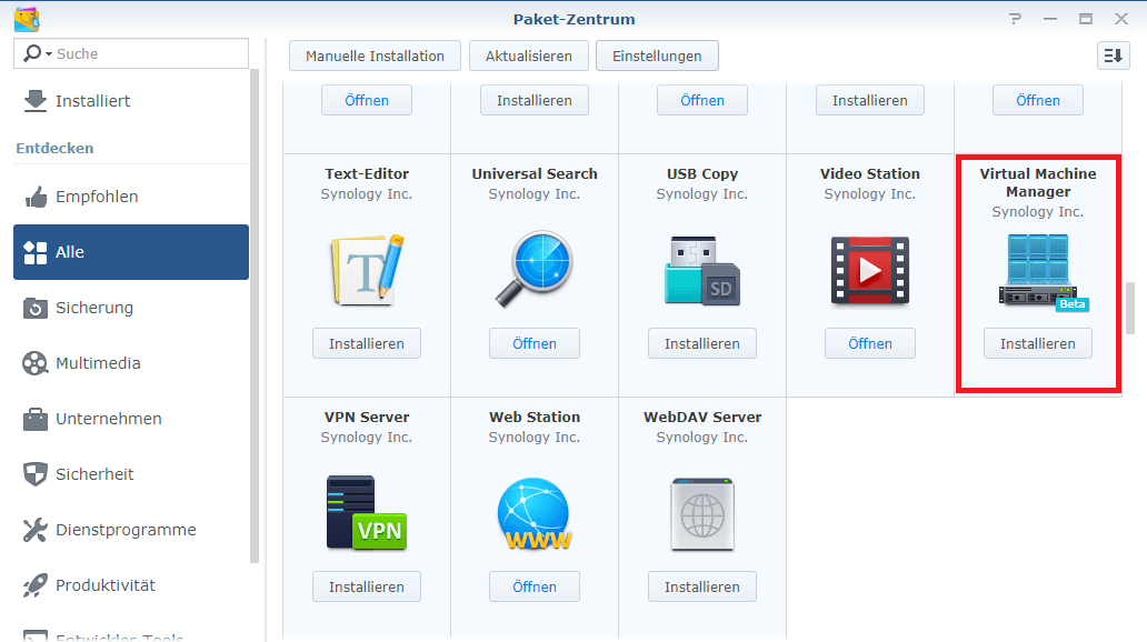virtual machine manager synology