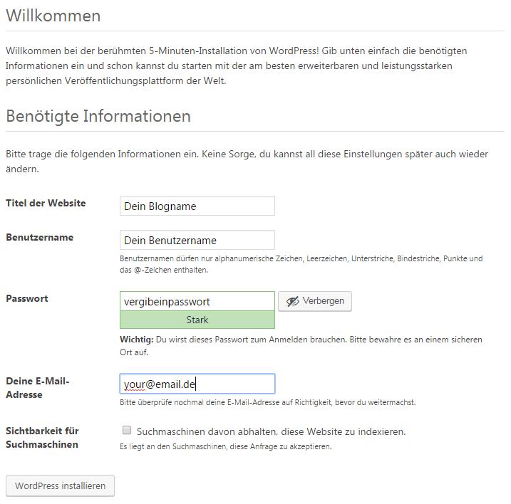 Wordpress Startkonfiguration
